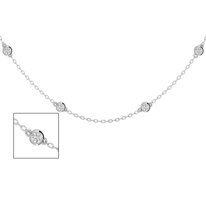 14K White Gold (4 g) 1 Carat Diamonds By The Yard Necklace, I/J,