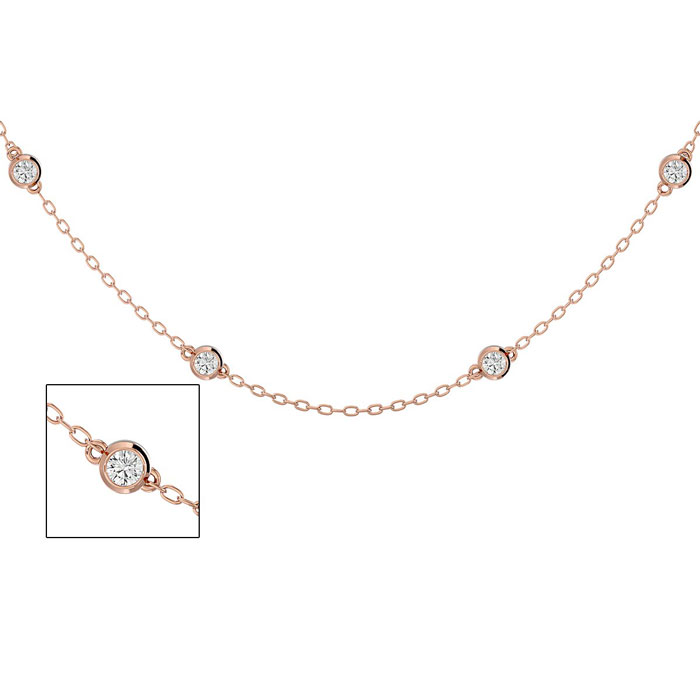 14K Rose Gold (4 g) 1 Carat Diamonds By The Yard Necklace, I/J, 1