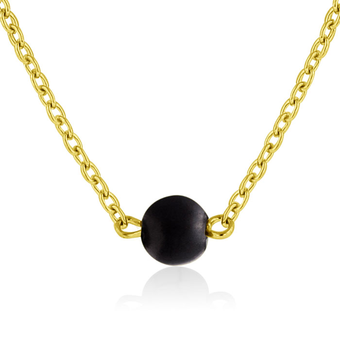 Black Onyx Necklace, Yellow Gold by Adoriana