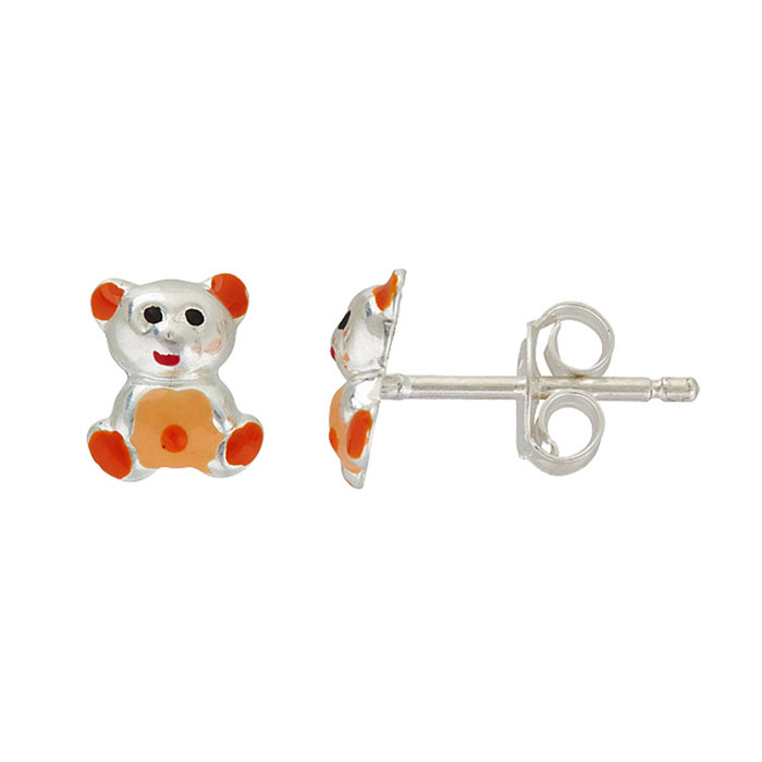 Sterling Silver Adorable Orange and Red Teddy