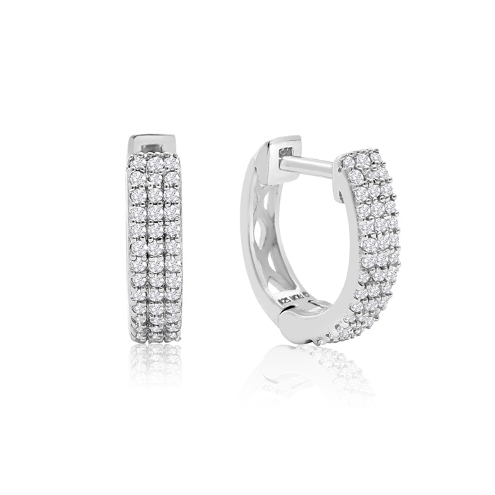 Sterling Silver 1/4 Carat Diamond Hoop Earrings, 1/2 Inch, H/I by