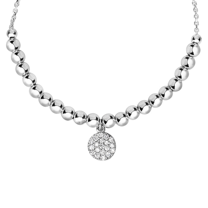 Sterling Silver Faceted Bead Adjustable Bead Bracelet w/ Cubic Zirconia Charm, 7 Inch by SuperJeweler