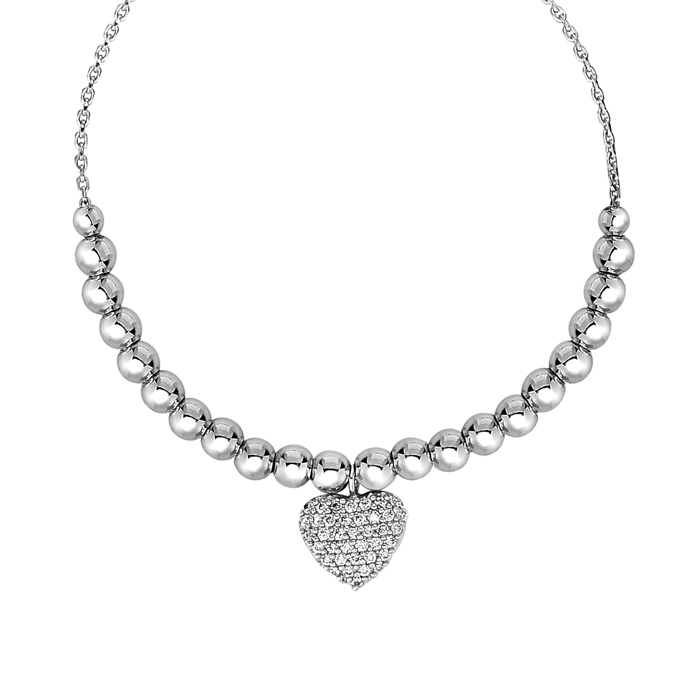 Sterling Silver Faceted Bead Adjustable Bead Bracelet w/ Cubic Zirconia Heart Charm, 7 Inch by SuperJeweler