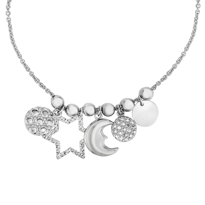 Sterling Silver & Cubic Zirconia Moon & Stars Charm Bracelet w/ Adjustable Bead, 7 Inch by SuperJeweler