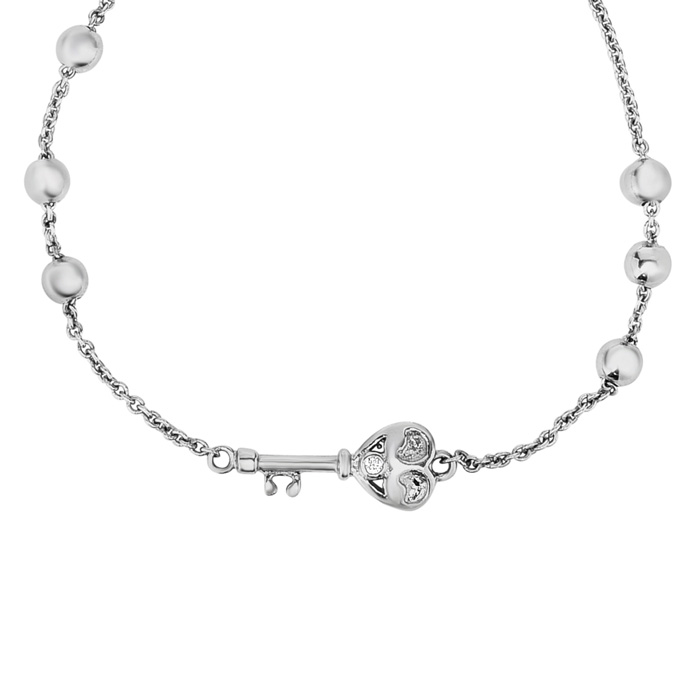 Sterling Silver Adjustable Bead Bracelet w/ Heart Key & Bead Embellishments, 7 Inch by SuperJeweler