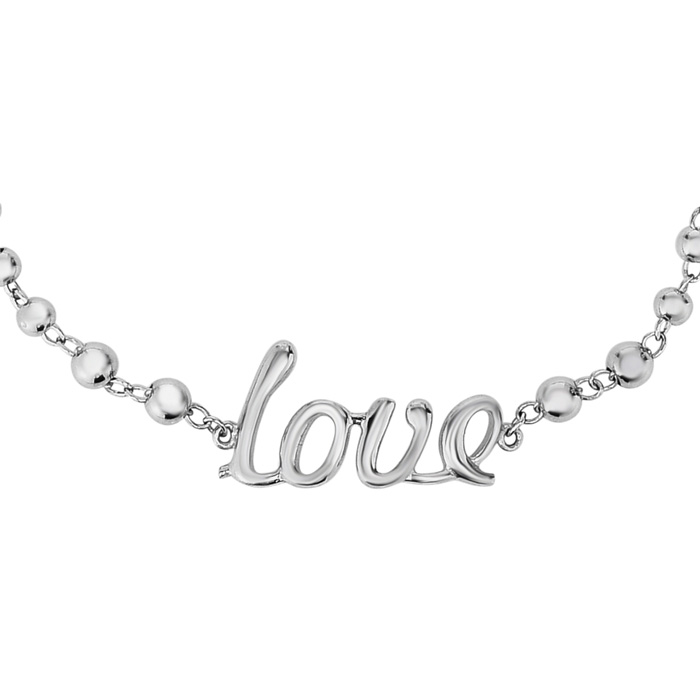 "Sterling Silver Adjustable Bead Bracelet w/ ""Love"" Text, 7 Inch b"