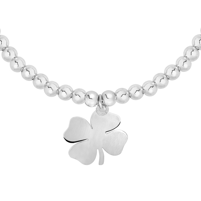 Sterling Silver Adjustable Bead Bracelet w/ Sterling Silver Beads & Shamrock Charm, 7 Inch by SuperJeweler