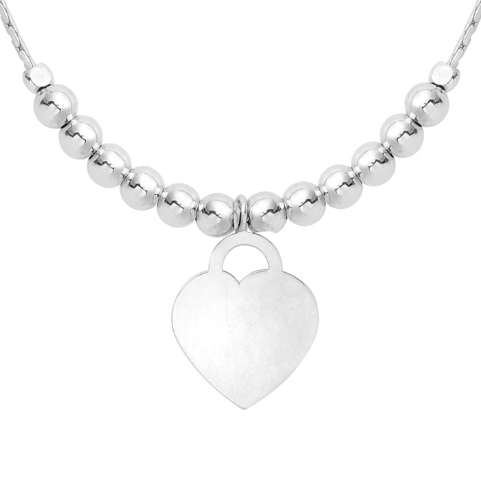 Image of Sterling Silver Adjustable Bead Bracelet with Sterling Silver Beads and Heart Charm