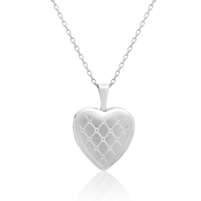 Sterling Silver Lattice Heart Locket Necklace, 18 Inches