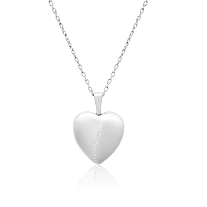 Image of Sterling Silver Small Heart Locket Necklace, 18 Inches