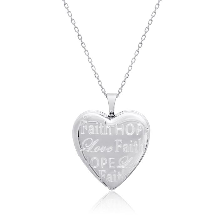 Image of Sterling Silver Faith, Hope, Love Heart Locket Necklace, 18 Inches
