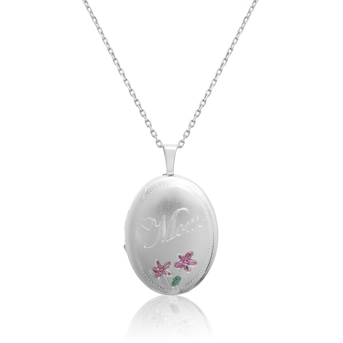Sterling Silver Mom Oval Locket Necklace, 18 Inches