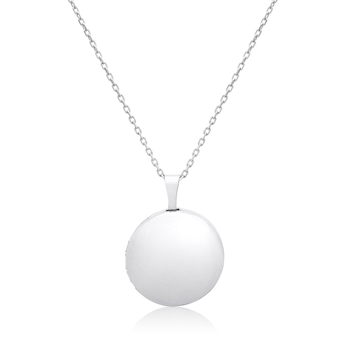 Sterling Silver Elegant Round Locket Necklace, 18 Inches