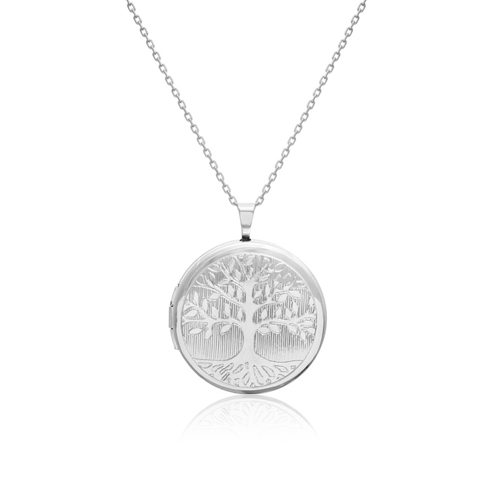 Image of Sterling Silver Tree of Life Round Locket Necklace, 18 Inches