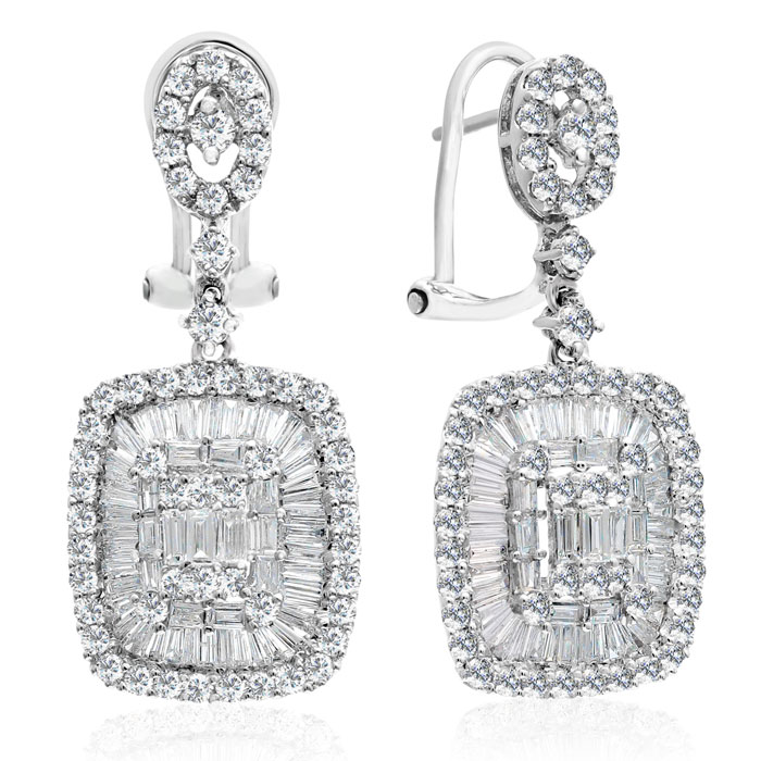 18K White Gold (7 g) 2.63 Carat Baguette & Round Diamond Dangle E