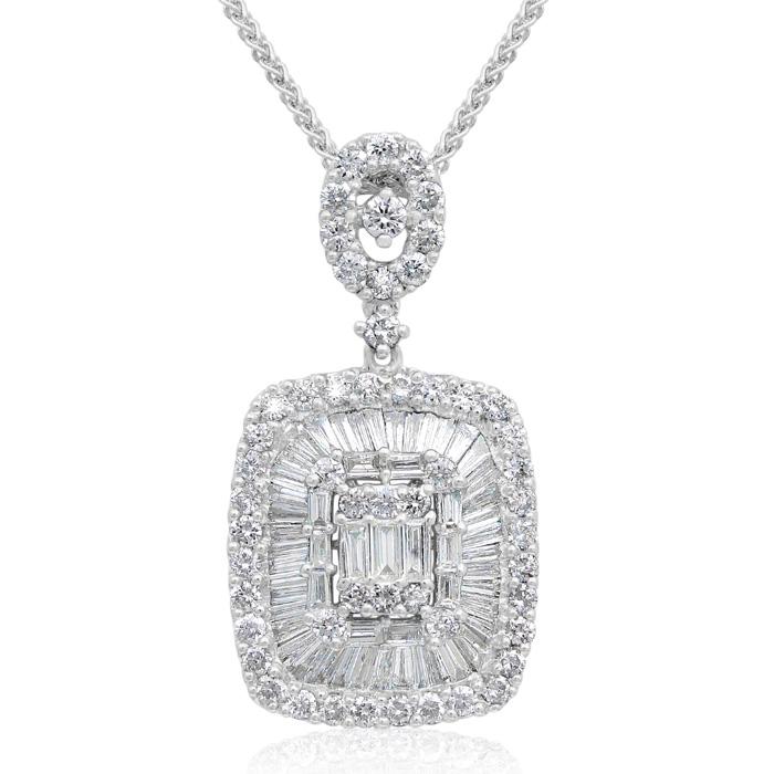 18 karat white gold 187 carat baguette and round diamond pendant 18 karat white gold 187 carat baguette and round diamond pendant necklace item number jwl 22440 aloadofball Choice Image