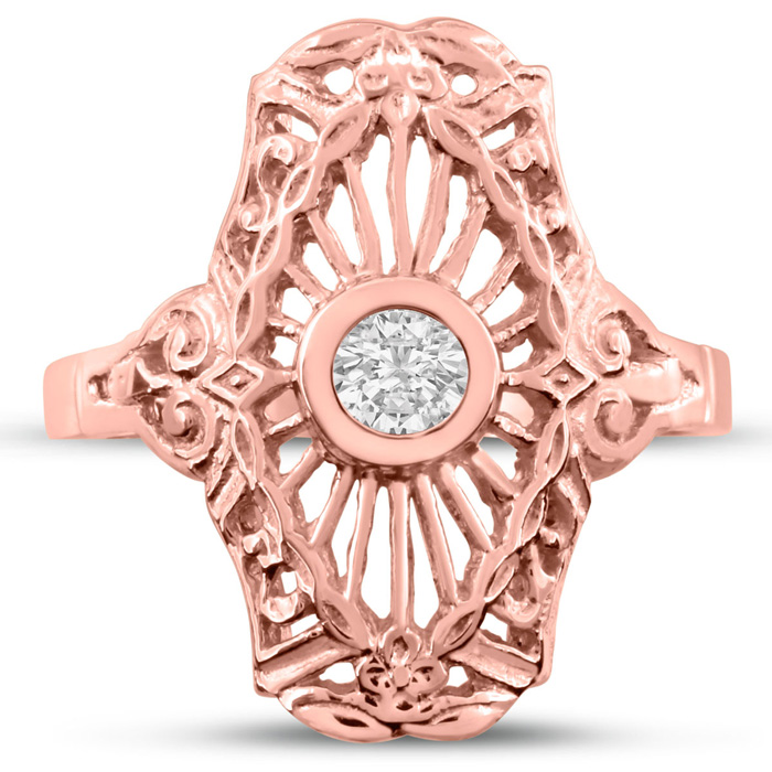 1/10 Carat Diamond Cathedral Ring in Rose Gold (H-I, SI2-I1) by S
