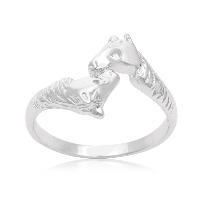 Image of Sterling Silver Mirrored Horse Ring