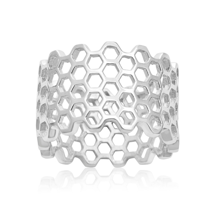 Image of Sterling Silver Honeycomb Statement Ring