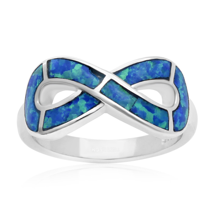 Image of Sterling Silver Blue Opal Infinity Ring