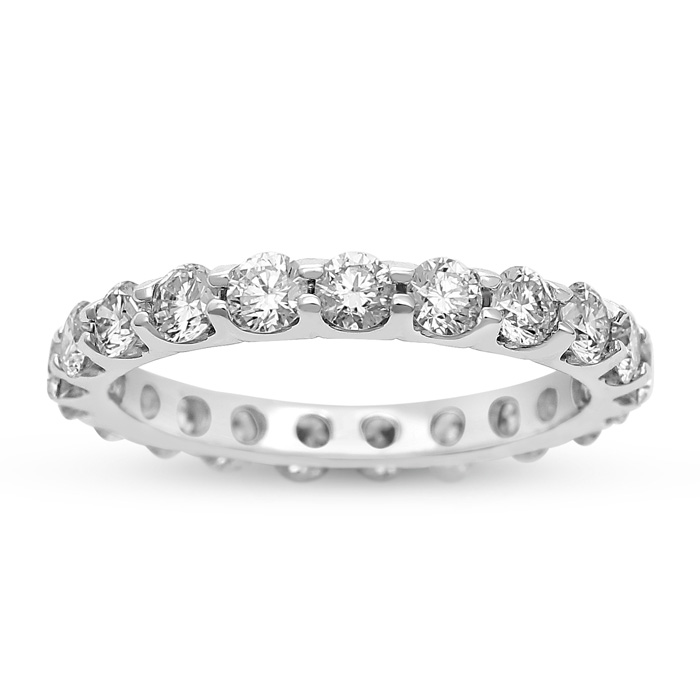 18K White Gold (3 g) 2 Carat Diamond Eternity Wedding Band (H, VS