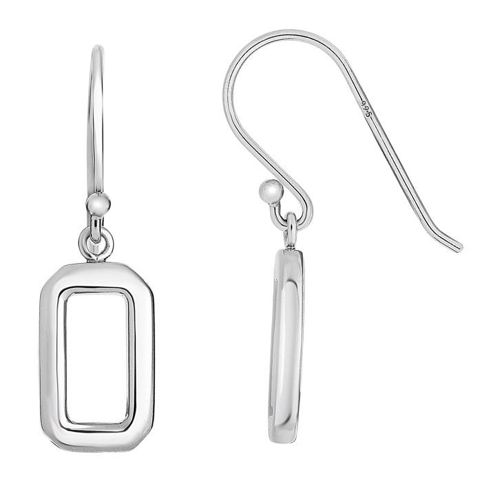 Sterling Silver Open Rectangle Dangle Earrings by SuperJeweler