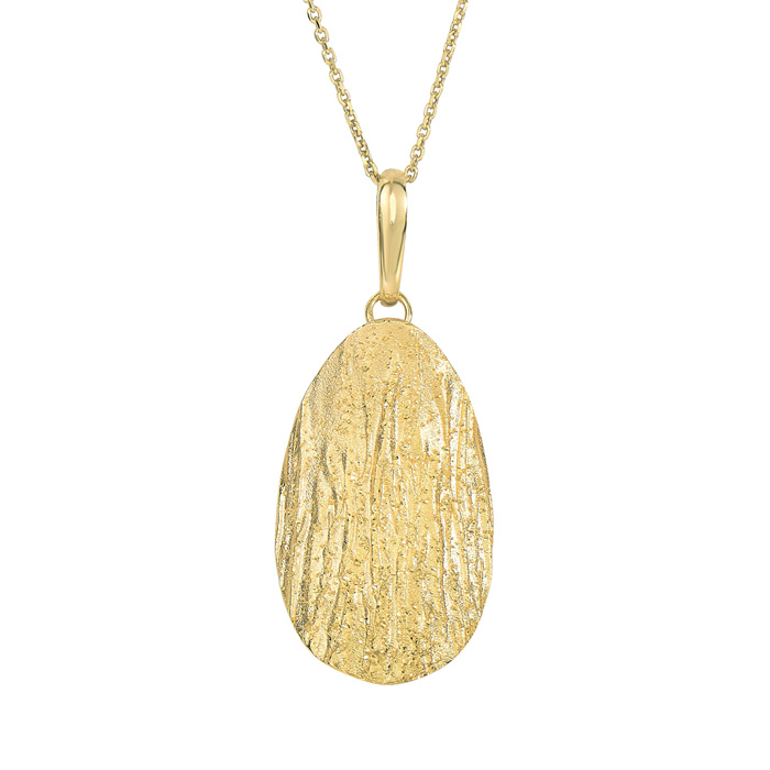 14K Yellow Gold Over Sterling Silver Stardust Oval Pendant Neckla