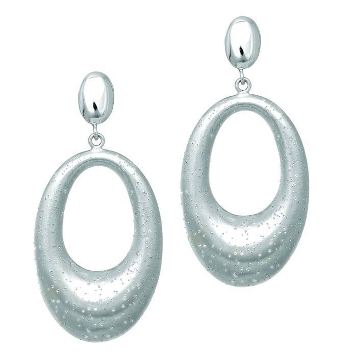 Sterling Silver Stardust Oval Dangle Earrings by SuperJeweler