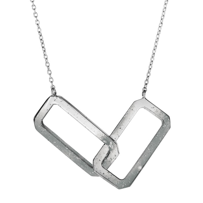 Sterling Silver Interlocking Stardust Rectangle Necklace, 18 Inch
