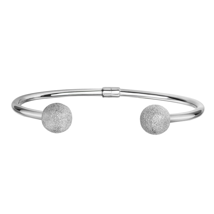 Sterling Silver Double Stardust Bead Open Bangle Bracelet, 7.5 In