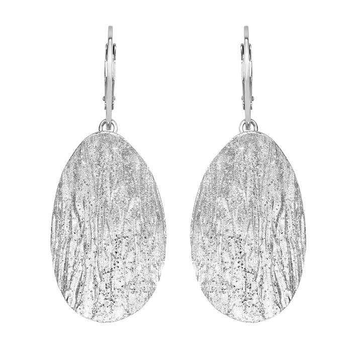 Sterling Silver Stardust Oval Pendant Earrings by SuperJeweler
