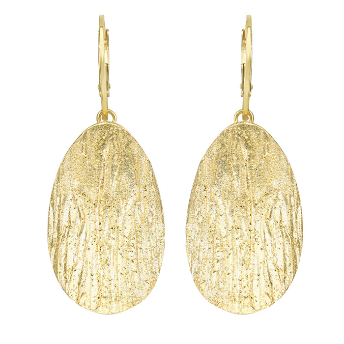 14K Yellow Gold Over Sterling Silver Stardust Oval Pendant Earrin