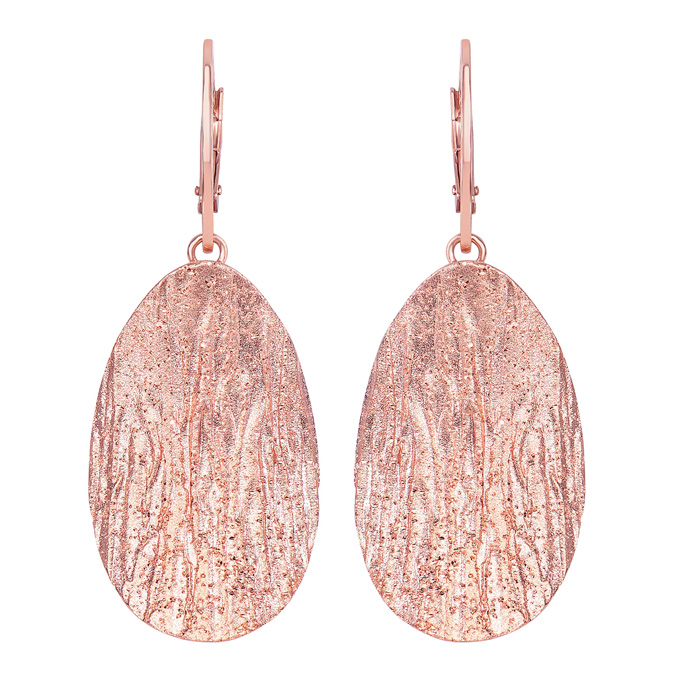 14K Rose Gold Over Sterling Silver Stardust Oval Pendant Earrings