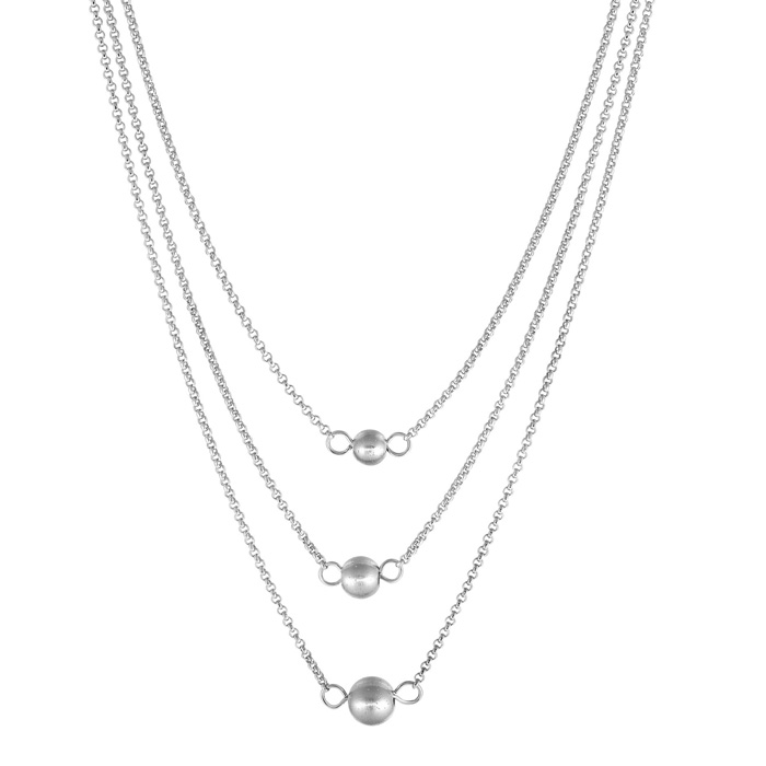 Sterling Silver Triple Ball & Chain Necklace, 16 Inches by SuperJ