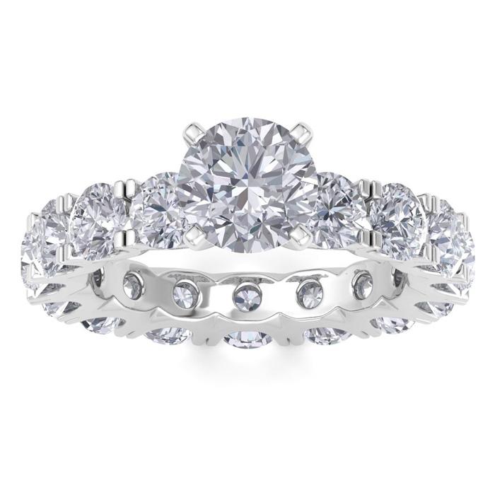 14K White Gold (5.6 g) 5 Carat Diamond Eternity Engagement Ring w/ 1.5 Carat Round Brilliant Center (