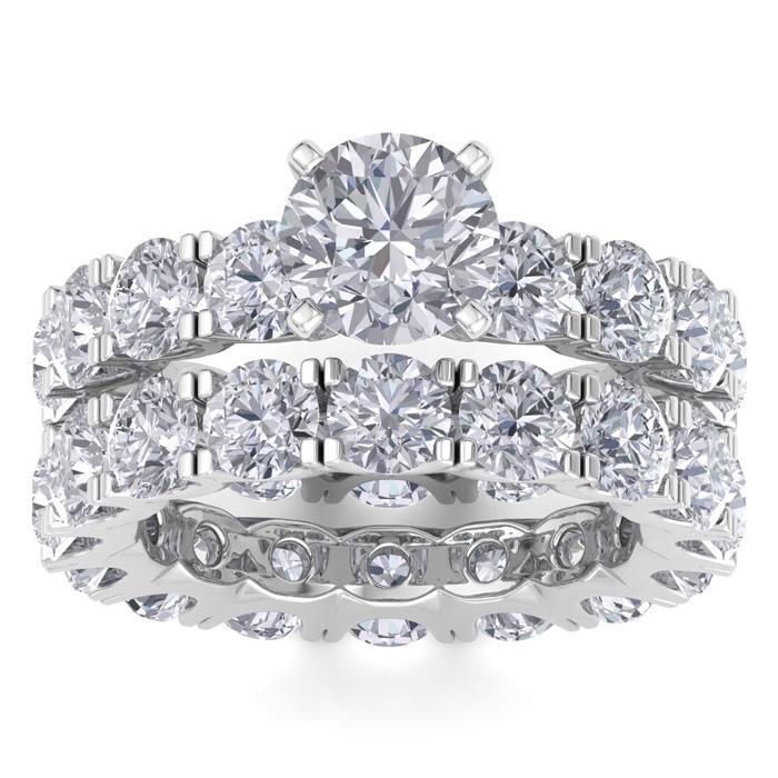 14K White Gold (11.2 g) 9 1/2 Carat Diamond Eternity Engagement Ring w/ Matching Band (I-J, I1-I2 Clarity Enhanced), Size 8 by SuperJeweler
