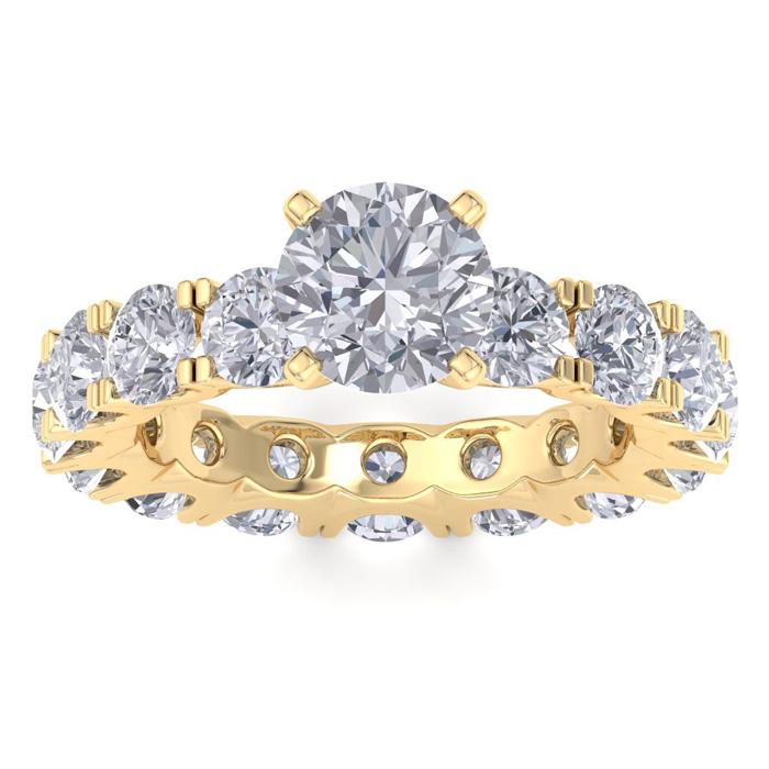Image of 14 Karat Yellow Gold 5 Carat Diamond Eternity Engagement Ring With 1 1/2 Carat Round Brilliant Center
