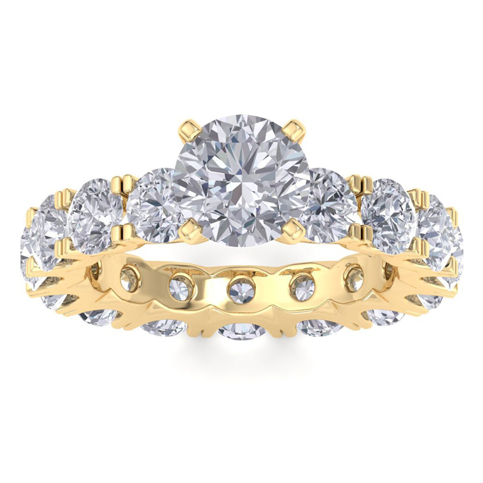 Image of 14 Karat Yellow Gold 5 1/4 Carat Diamond Eternity Engagement Ring With 1 1/2 Carat Round Brilliant Center