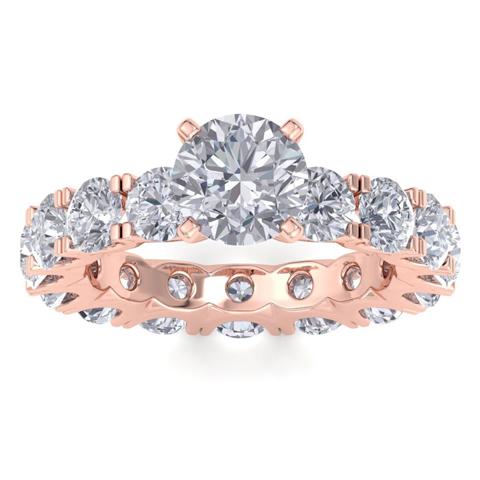 Image of 14 Karat Rose Gold 5 1/4 Carat Diamond Eternity Engagement Ring With 1 1/2 Carat Round Brilliant Center