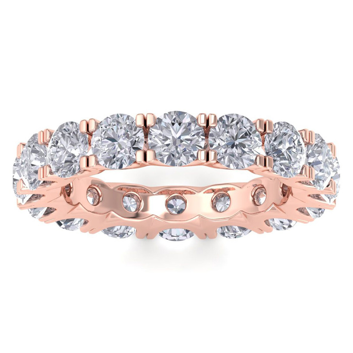 14K Rose Gold (4.5 g) 4 Carat Diamond Eternity Ring (I-J, I1-I2),