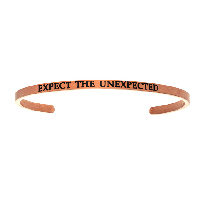 "Rose Gold ""EXPECT THE UNEXPECTED"" Bangle Bracelet, 8 Inch by Supe"