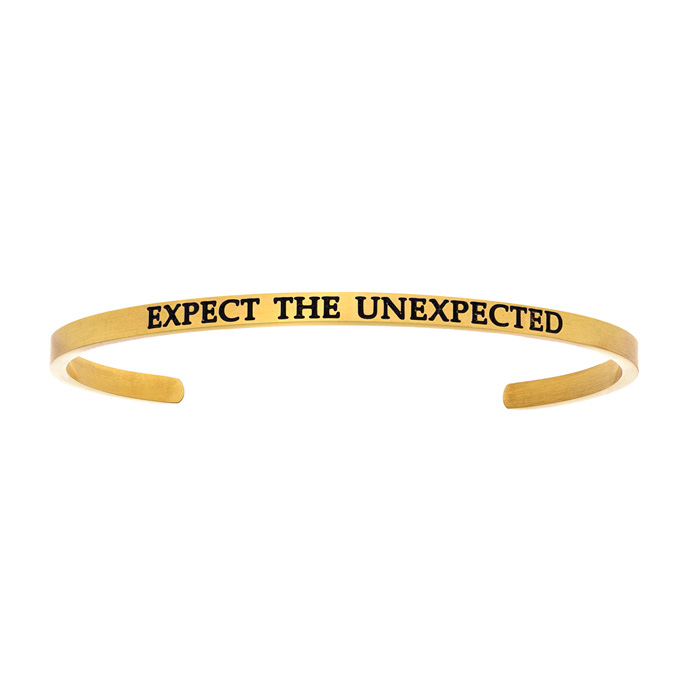 "Yellow Gold ""EXPECT THE UNEXPECTED"" Bangle Bracelet, 8 Inch by Su"