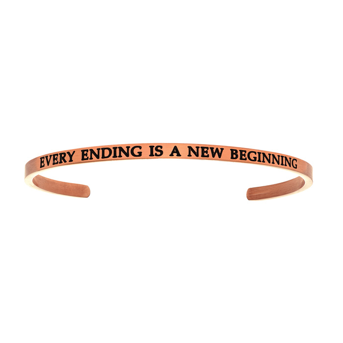 "Rose Gold ""EVERY ENDING IS A NEW BEGINNING"" Bangle Bracelet, 8 In"