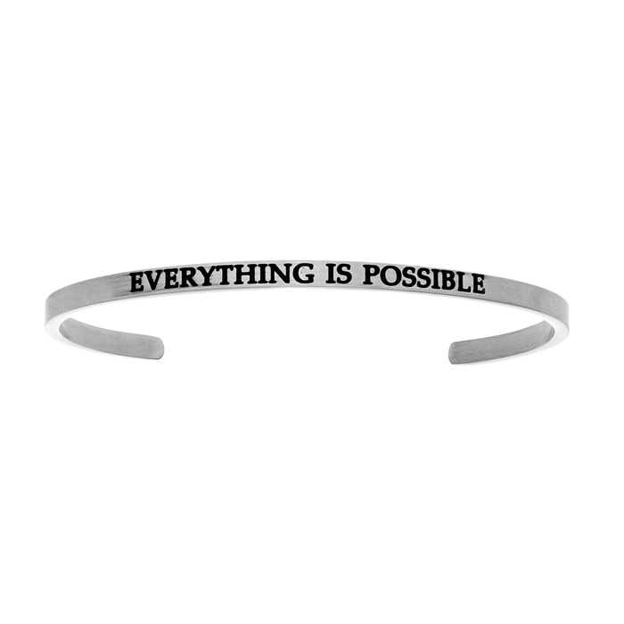 "Silver ""EVERYTHING IS POSSIBLE"" Bangle Bracelet, 8 Inch by SuperJ"