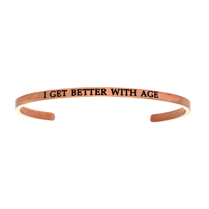 "Rose Gold ""I GET BETTER w/ AGE"" Bangle Bracelet, 8 Inch by SuperJeweler"