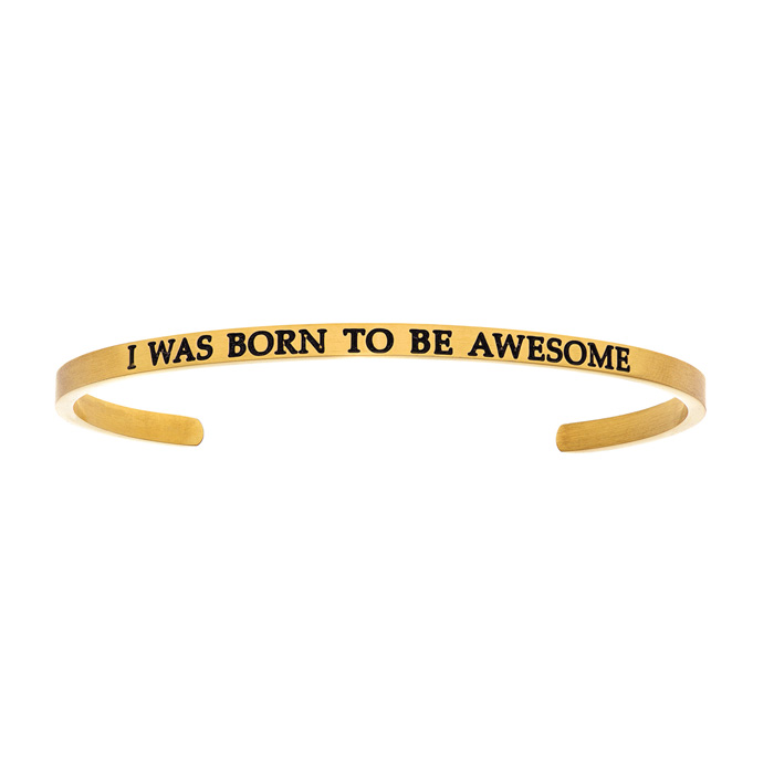 "Yellow Gold ""I WAS BORN TO BE AWESOME"" Bangle Bracelet, 8 Inch by"