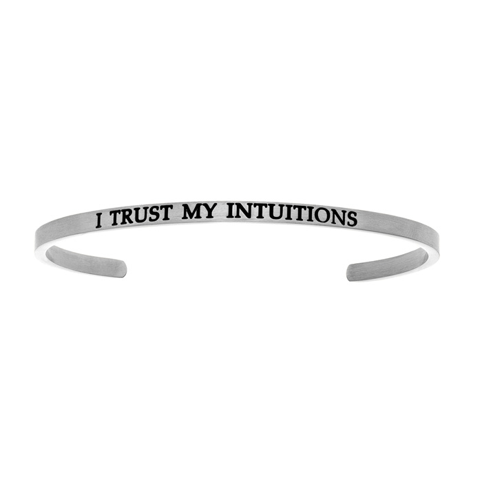 "Silver ""I TRUST MY INTUITIONS"" Bangle Bracelet, 8 Inch by SuperJe"