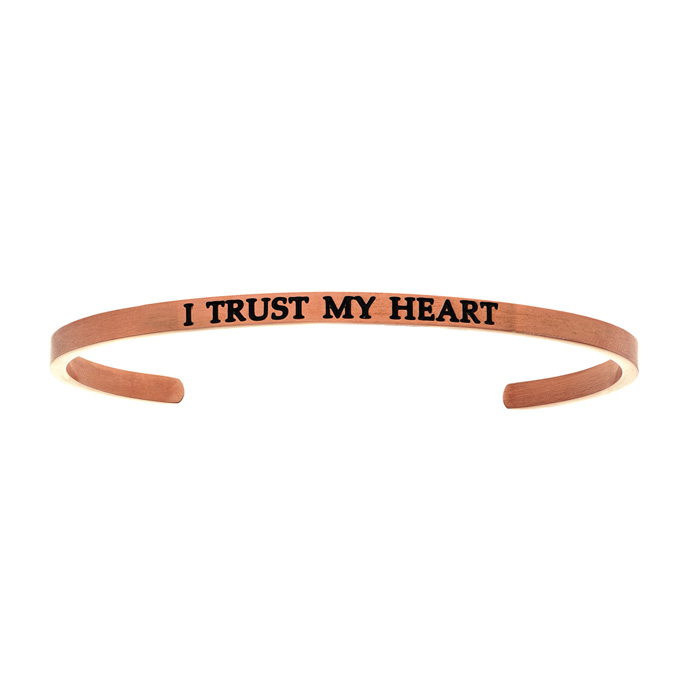 "Rose Gold ""I TRUST MY HEART"" Bangle Bracelet, 8 Inch by SuperJewe"