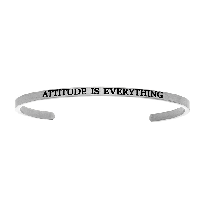 "Silver ""ATTITUDE IS EVERYTHING"" Bangle Bracelet, 8 Inch by SuperJ"