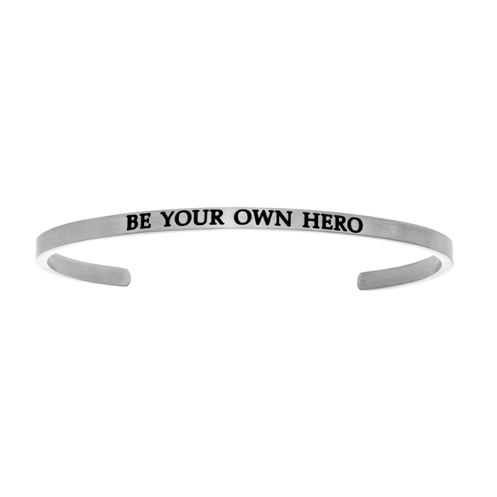 "Silver ""BE YOUR OWN HERO"" Bangle Bracelet, 8 Inch by SuperJeweler"